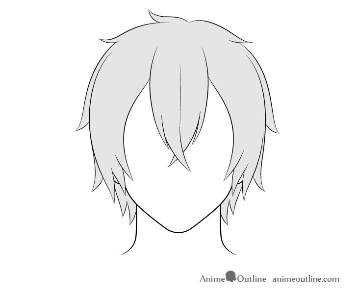 How To Draw Anime Male Hair Step By Step Animeoutline In 2020 Manga Hair Anime Boy Hair Boy Hair Drawing
