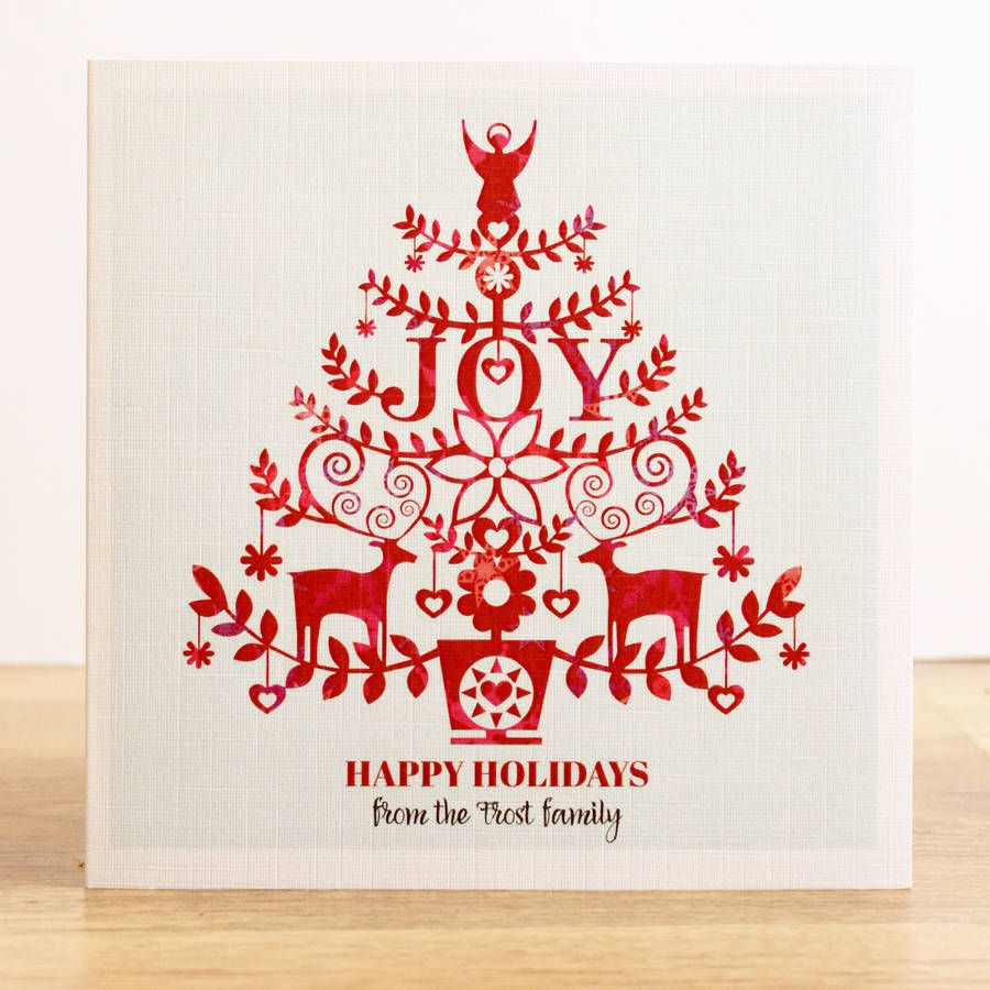A Set Of Personalised \'Joy\' Christmas Cards | Christmas | Pinterest ...