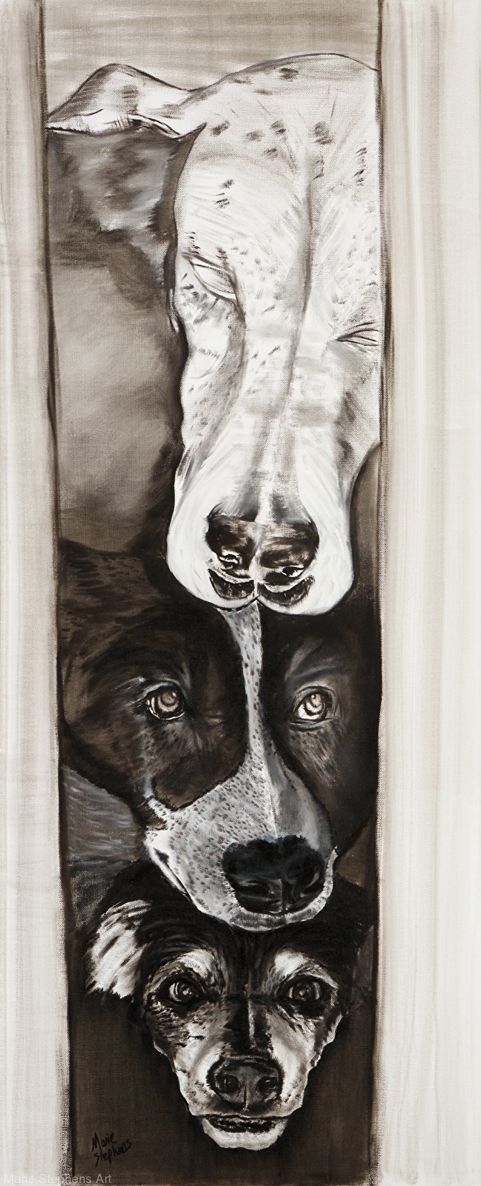 Skye, Lexey, and Duke by Marie Stephens, Oil, 40inches x