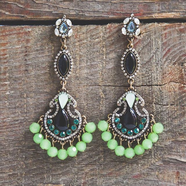 Black and Lime Stoned Statement Earrings #earrings #fashion #style…