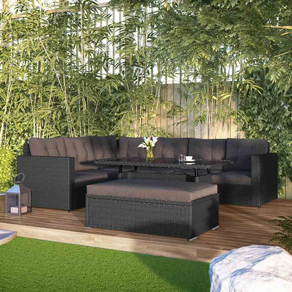 Luxo Navassa PE Wicker Outdoor Sofa Dining Set - Black ... on Luxo Living Outdoor id=24863