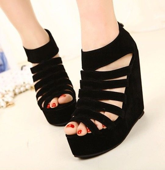Very innovative and asymmetrical wedge shoes design for women pictures