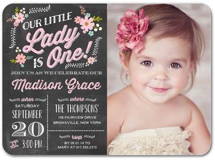 Precious One - Birthday Party Invitations - Portsmouth Card Co - invitation for 1st birthday party girl