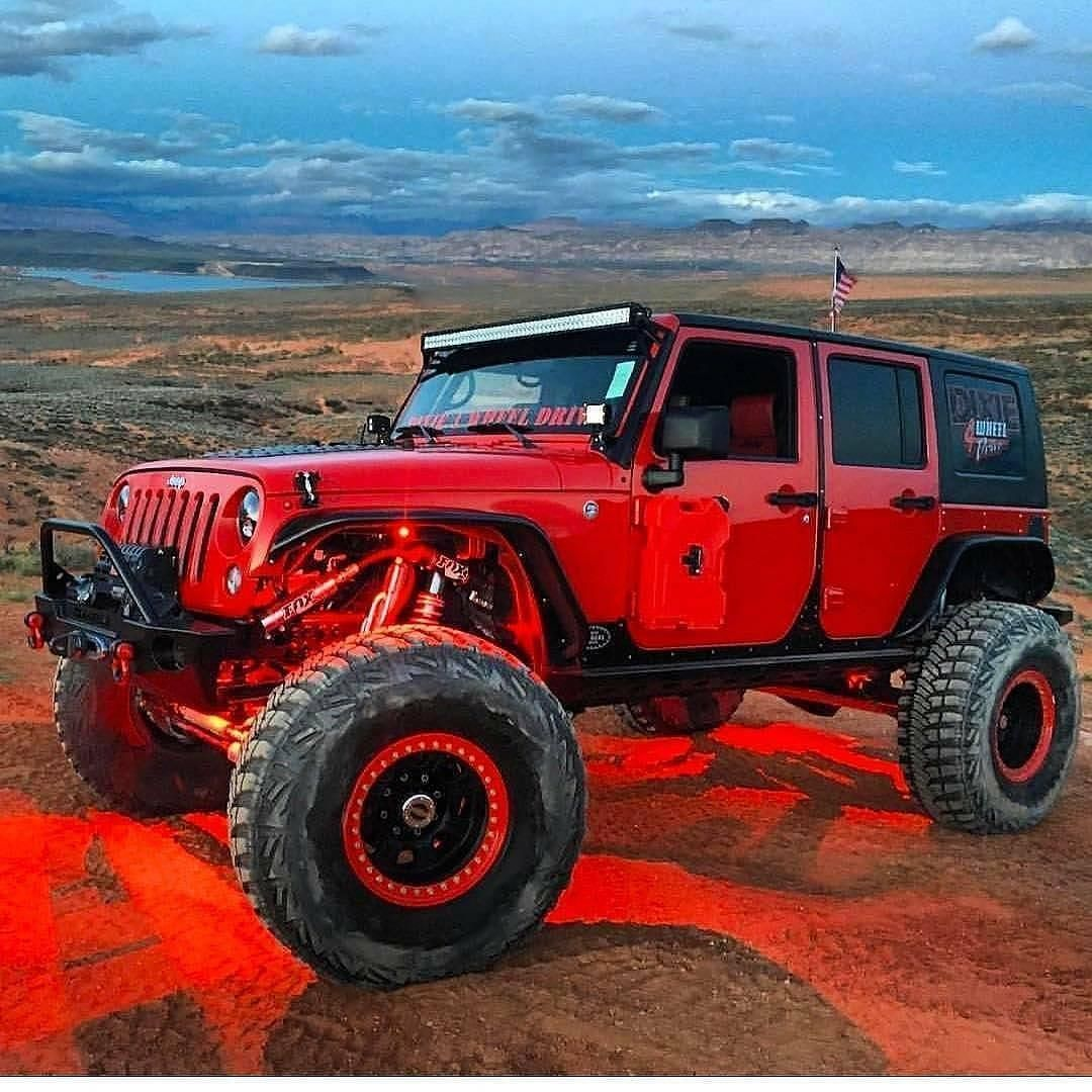 Red Jeep With Red Led Lights Red Jeep Wrangler Red Jeep Wrangler Unlimited Jeep Wrangler