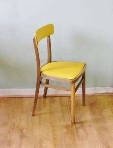 vintage kitchen chair sunshine yellow vinyl cushioned