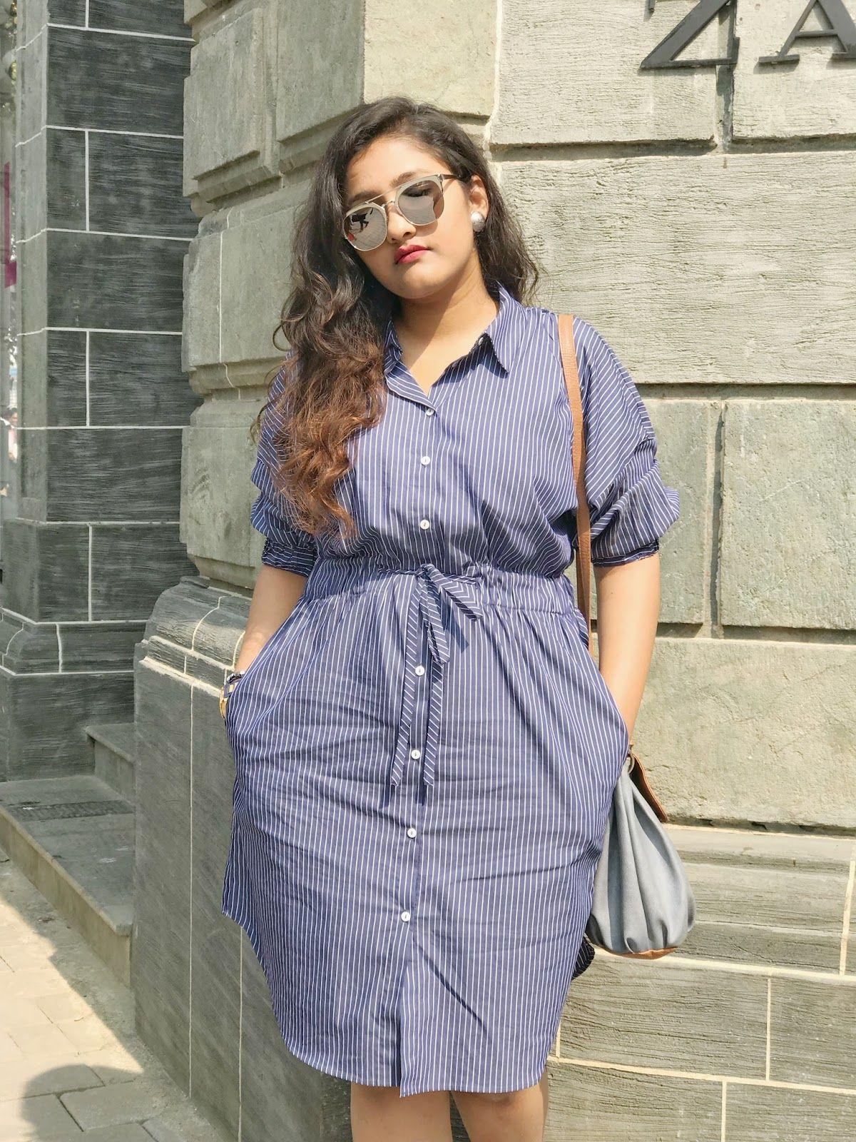 07ef9f6a Nautical mood: on the blog shirt dress, Zara, sneakers, Shreya Solanki,