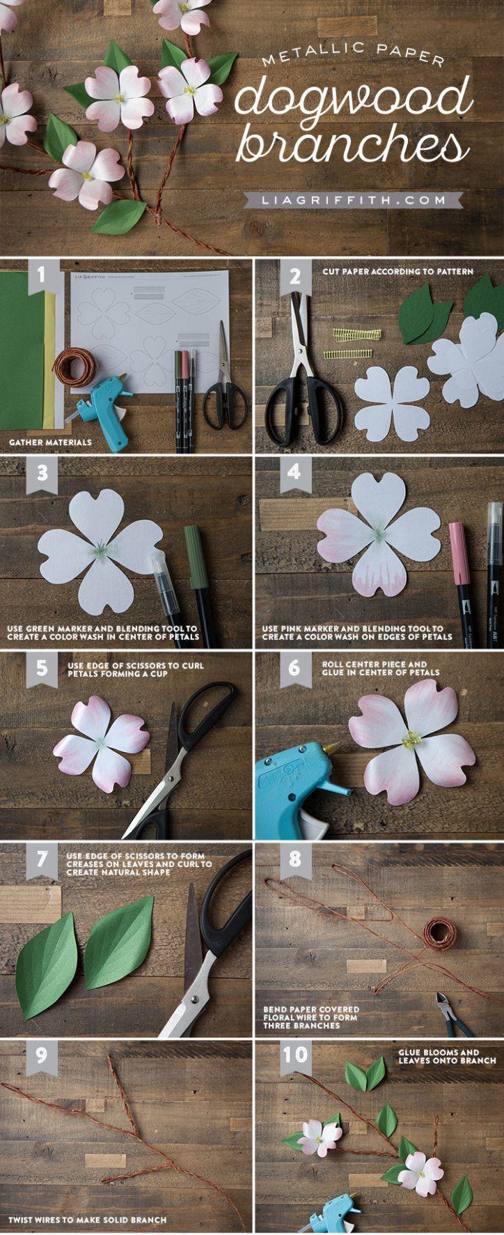 Handmade Paper Dogwood Branch Paper Crafts Paper Flowers Paper