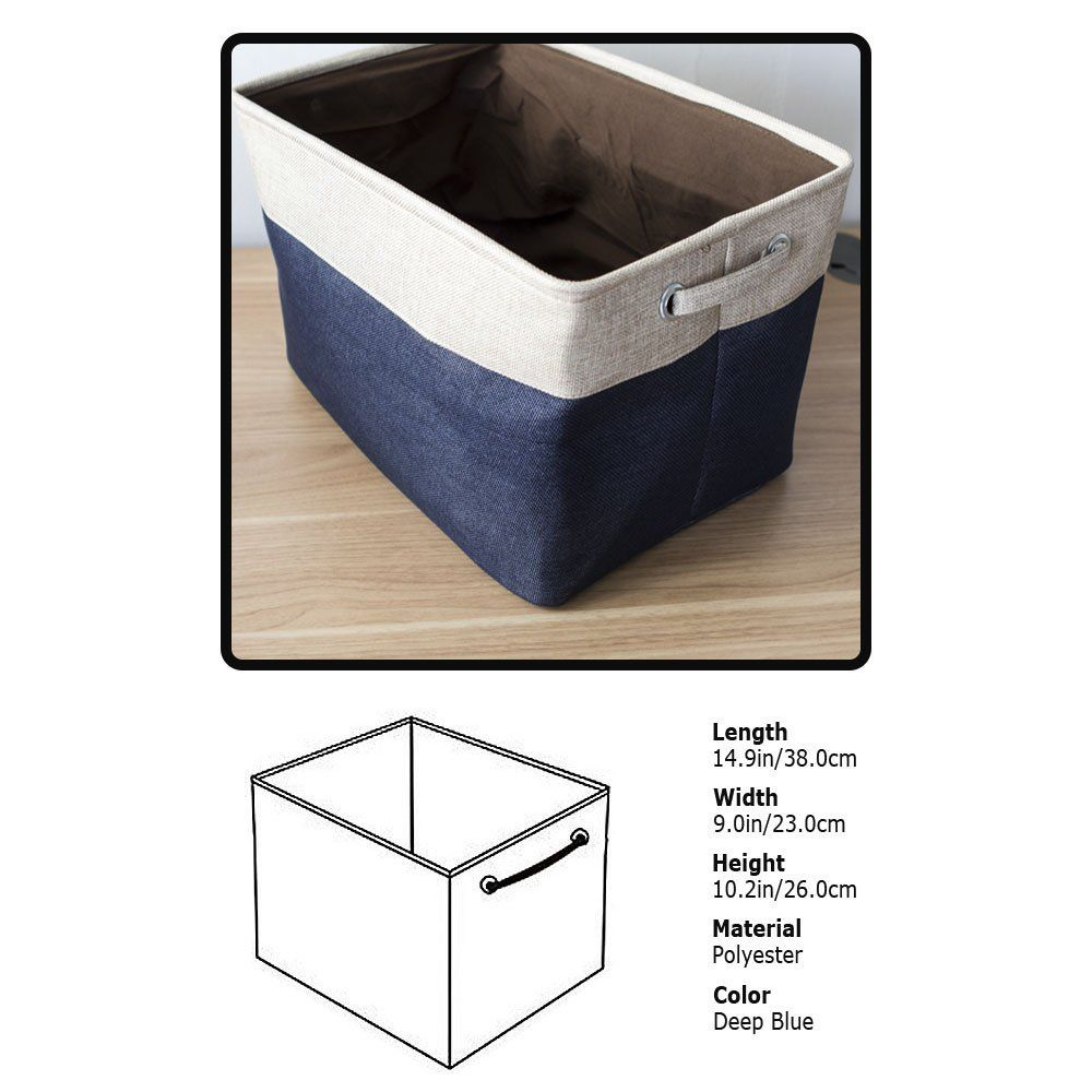 Amazonsmile Acrux7 Storage Bin Container 15 Inch Cotton Linen Foldable Storage Basket With Drawer Handle For Storage Bins Freezer Storage Bins Drawer Handles