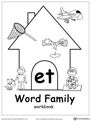 ET Word Family Workbook for Kindergarten: Our ET Word Family Workbook includes a variety of printable worksheets to help your child learn reading and writing through the use of common words ending in ET. Download your copy of the ET Word Family Workbook today.