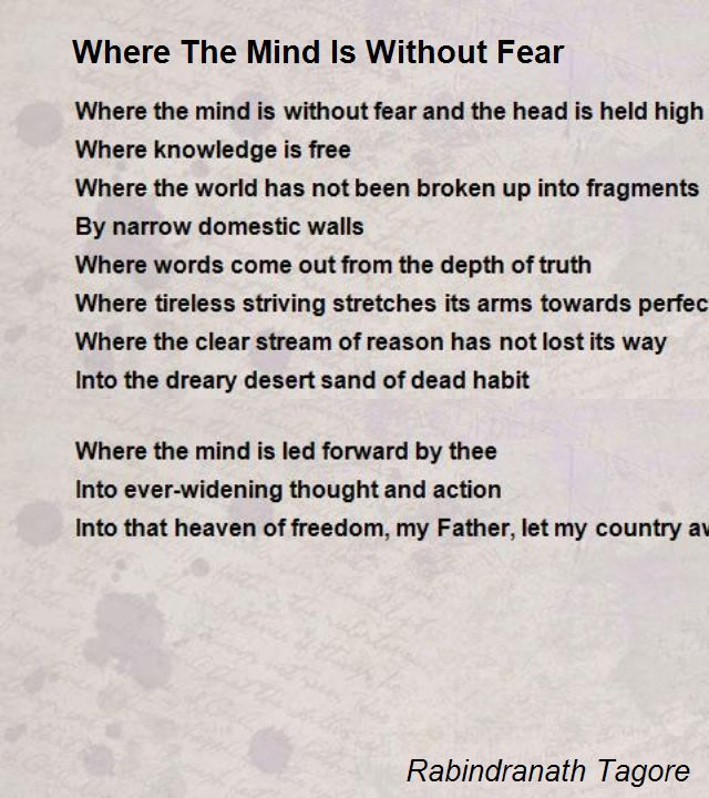Where The Mind Is Without Fear Poem by Rabindranath Tagore