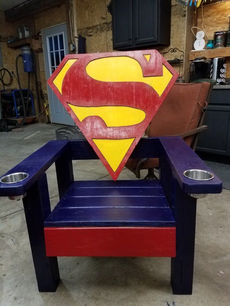 superman chair wood crafts in 2019 chair adirondack chairs rh pinterest co uk spiderman chairs superman character profile