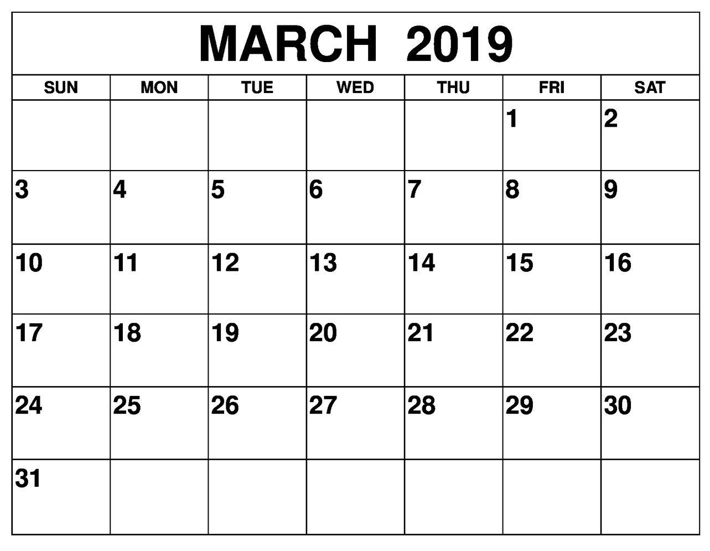 Printable March 2019 Calendar Online Printable Calendar Template