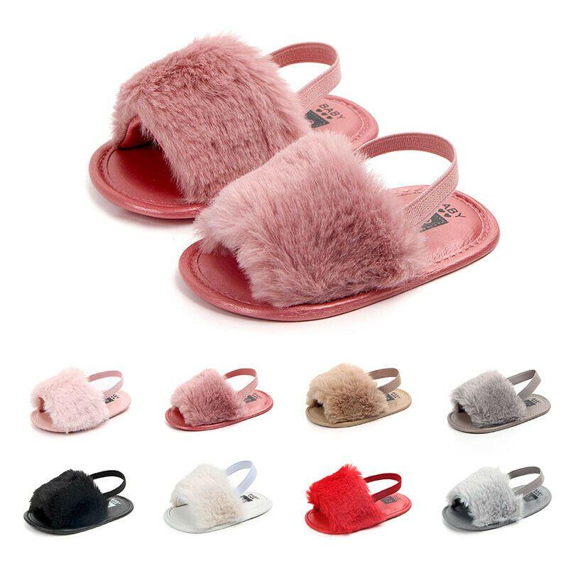 Newborn Baby Girl Summer Soft Sole Crib Shoes Cute Fluffy Fur Slippers Sandals