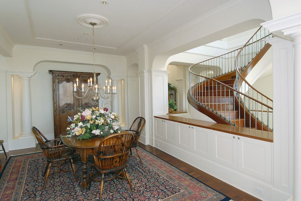 Half Wall Room Divider Dining Traditional With Centerpiece Chandelier Colonial Column