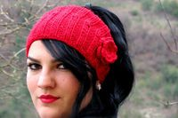 Crochet Flower Head band Oversized Ear Warmer Wide Knitted Headband Red. Winter Headband, Hair Coverings