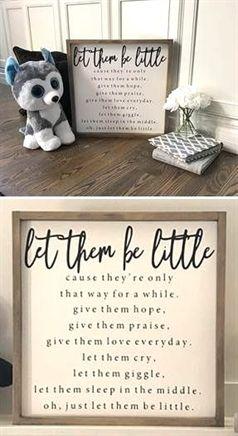 Let Them Be Little Sign, Nursery Sign, Nursery Decor, Farmhouse Nursery Wall Art, Framed Wood Signs, images