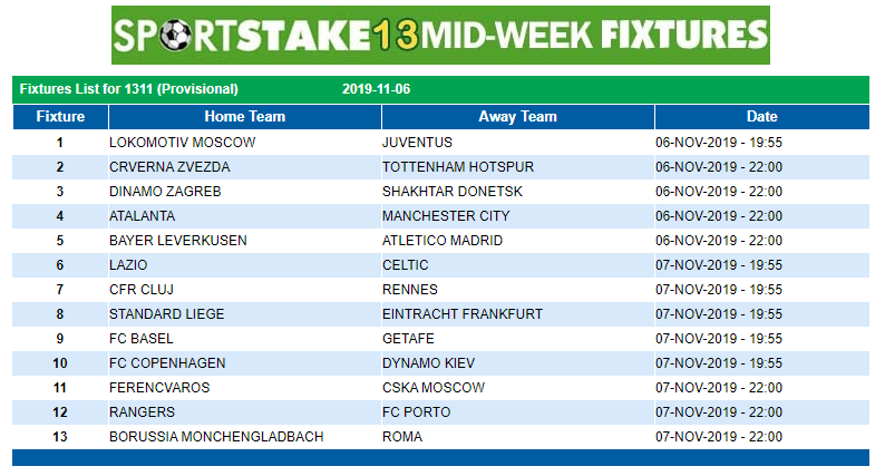 Latest SportStake 13 Midweek Fixtures 06 November 2019