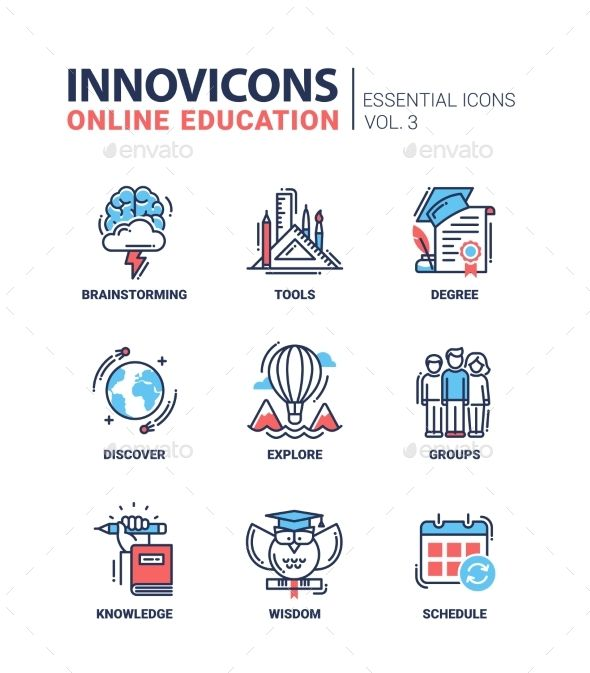 Online Education Icons Set With Images Education Icon Icon
