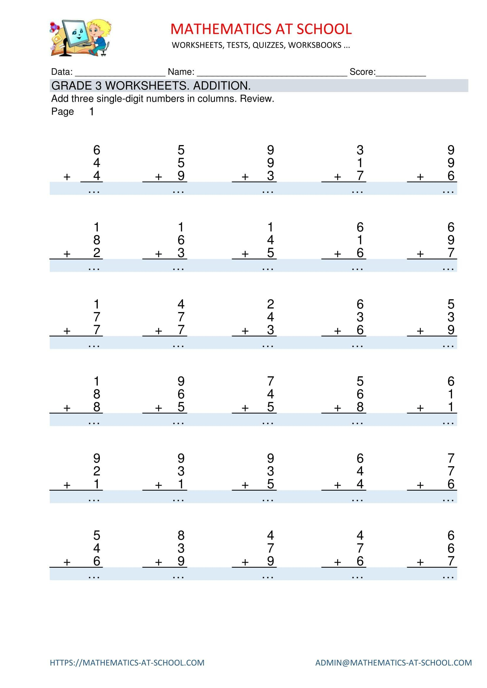 4 Free Math Worksheets Second Grade 2 Addition Add 3 Digit Numbers In  Columns with Regrouping...   Free math worksheets [ 2339 x 1654 Pixel ]
