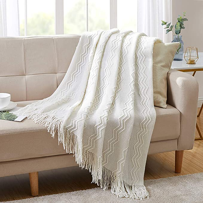 Amazon Com Bourina Throw Blanket Textured Solid Soft For Sofa Couch Decorative Knitted Blanket 50 X 60 Off Whi In 2020 White Throw Blanket Couch Blanket Sofa Throw