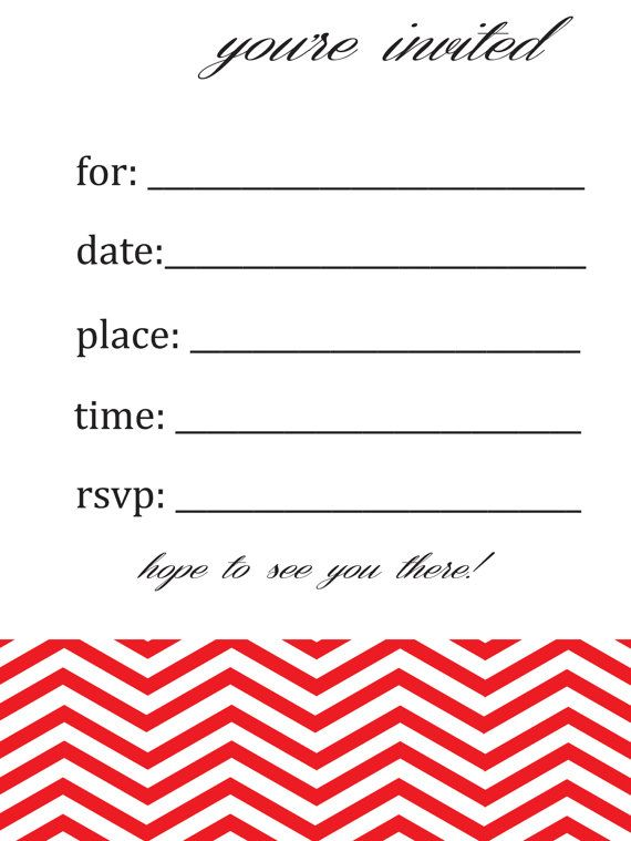 General Blank Chevron Birthday or Party Invitation by susieandme - fresh zebra invitation template free