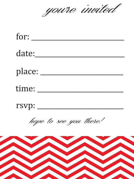 generalblank chevron birthday or party invitation by susieandme 400 - Blank Party Invitations