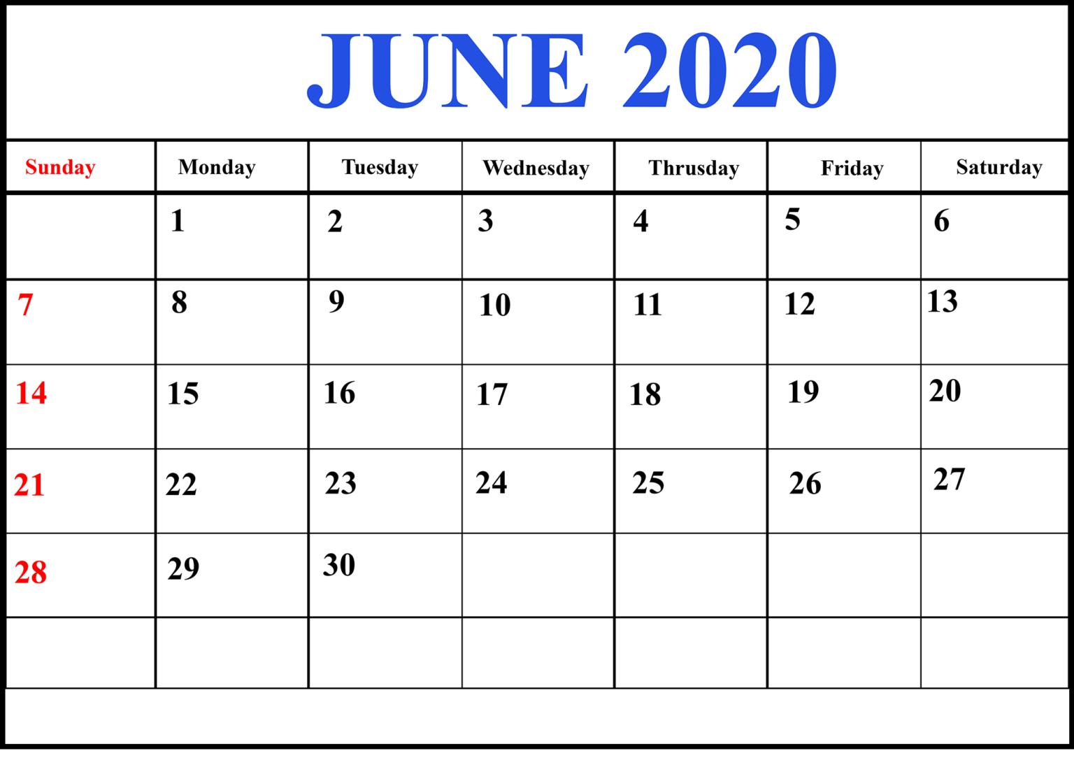Print June 2020 Calendar Excel Sheet in 2020 Excel