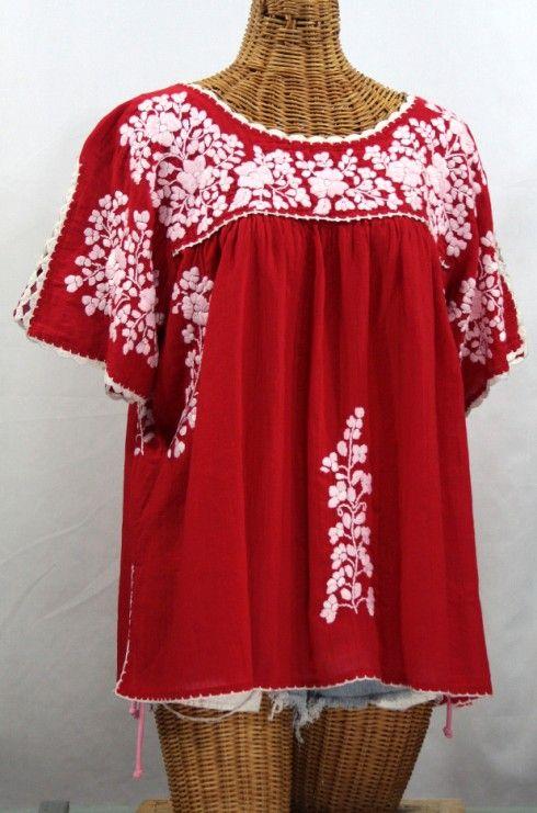 Lijera Libre Plus Size Embroidered Mexican Blouse Tomato Red