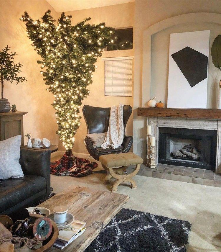 christbaum kopfüber wohnzimmer minimalistische deko - wohnzimmer ideen minimalistisch
