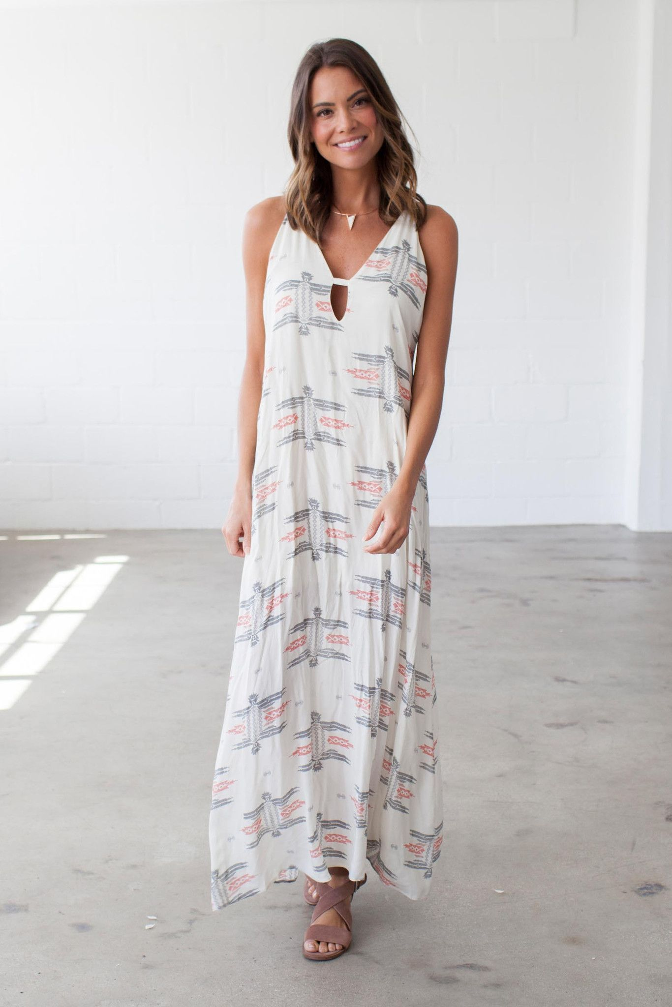 Our Bohme Razorback Aztec Maxi Dress features a red and grey aztec printed  body 43b7d8d7c19c