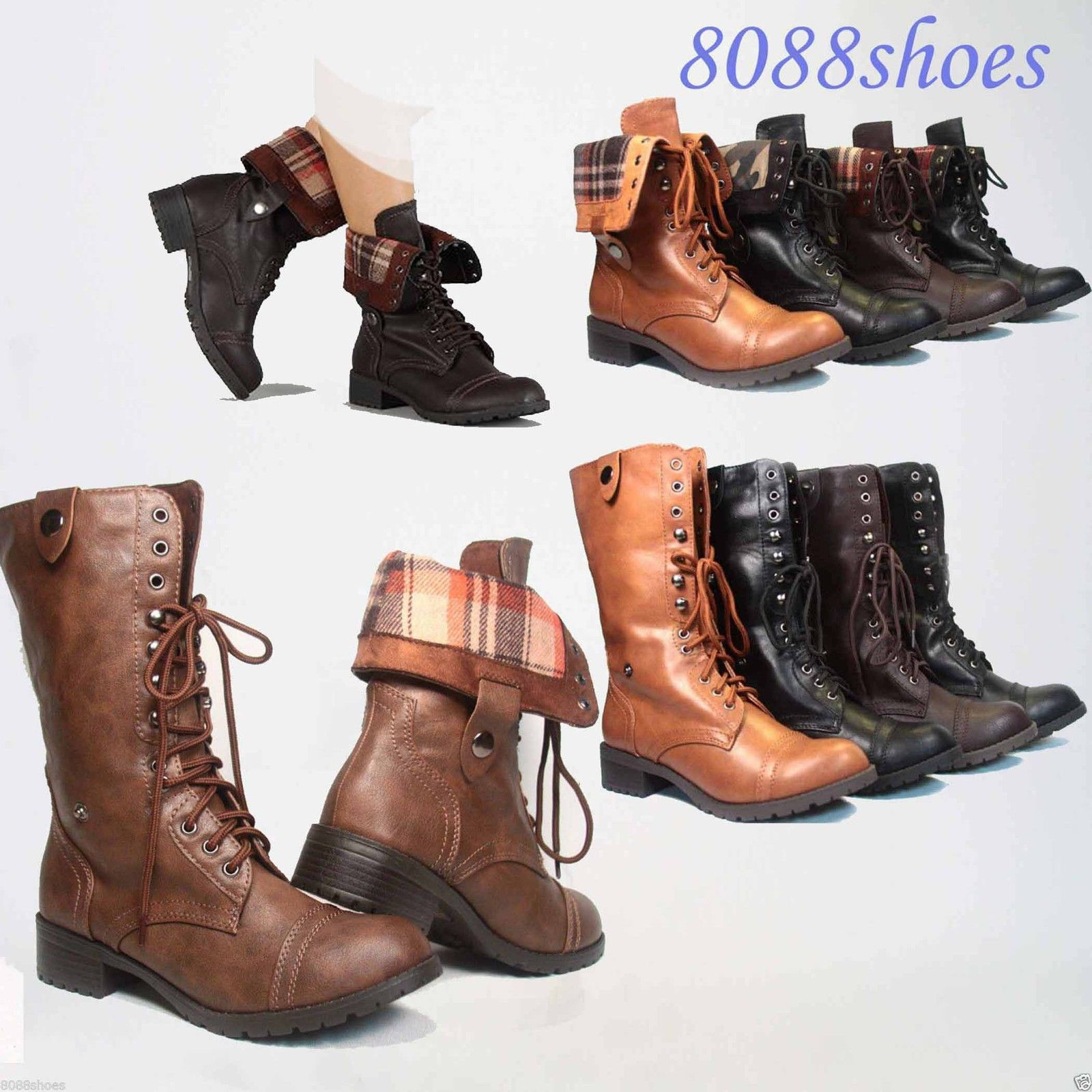 Women Boots Lace Up Low Heel