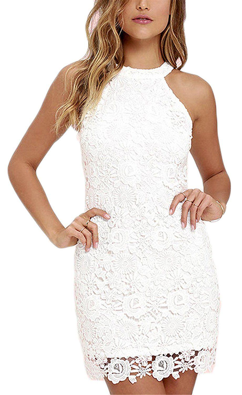 Damen Kleid LOBTY Sommer Kurz Etuikleid Spitzekleid Sommerkleid
