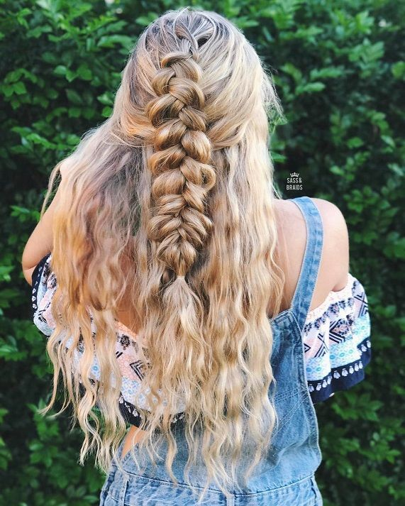 Dutch Braid Into Fishtail Hairstyle Easy Half Up Half Down