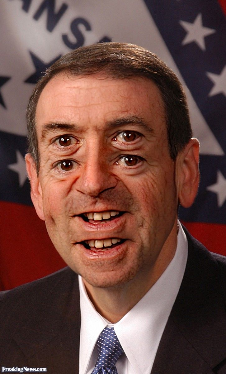 Mike huckabee double vision 2 eye pairs double vision crazy eyes two faces