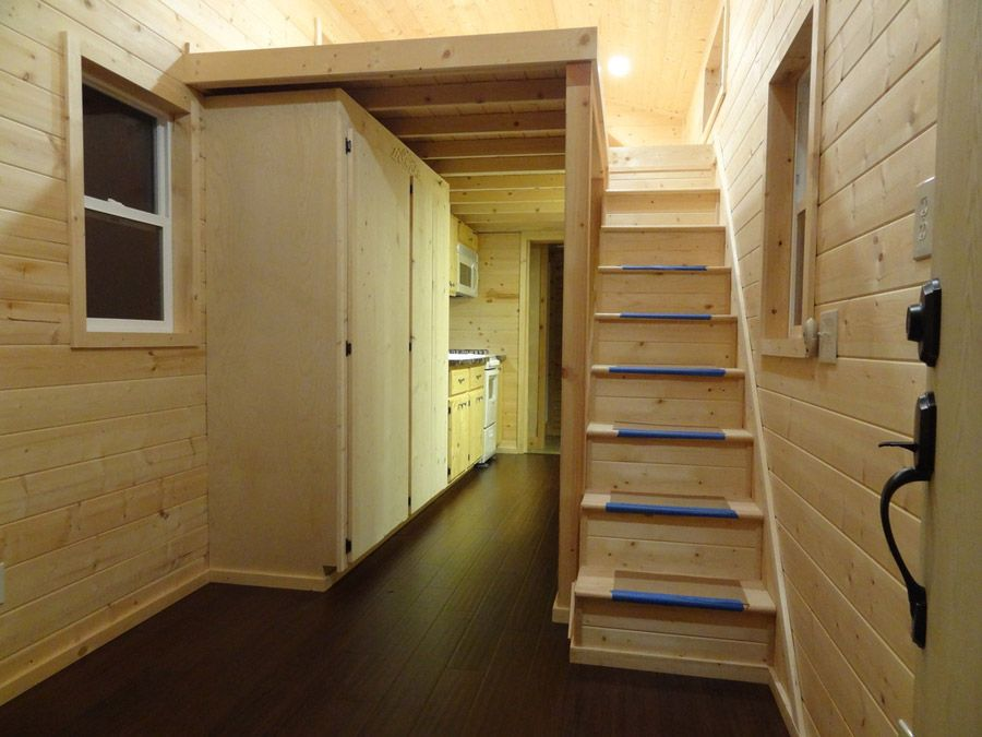 a 300 square feet tiny house on wheels in crescent city california built by - Tiny House Stairs 2