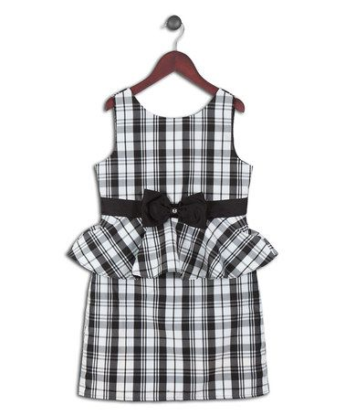 Another great find on #zulily! Black & White Plaid Peplum Dress - Girls #zulilyfinds