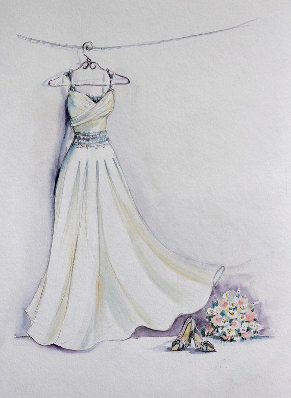 Bridal dress watercolor sketch with bouquet and bridal - Kleider zeichnen ...