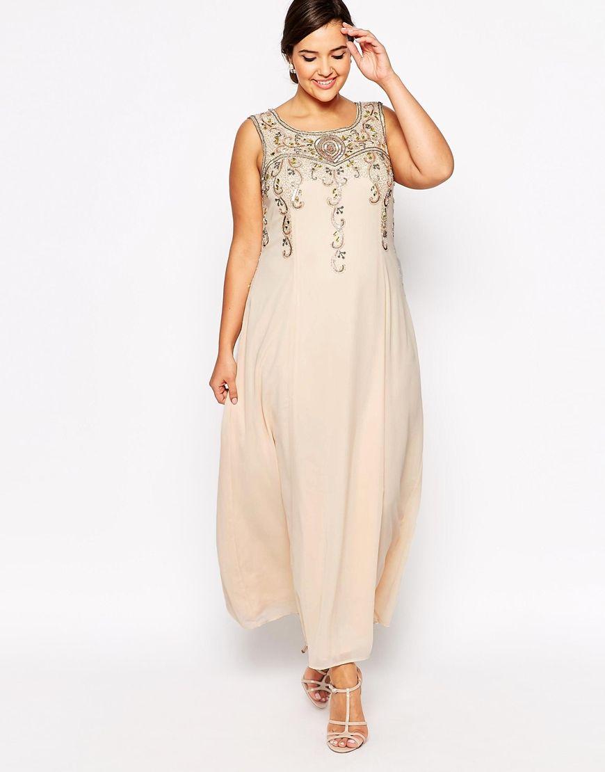 7874dfa064c629 ASOS Lovedrobe Beaded Maxi Dress Abendkleid Für Mollige