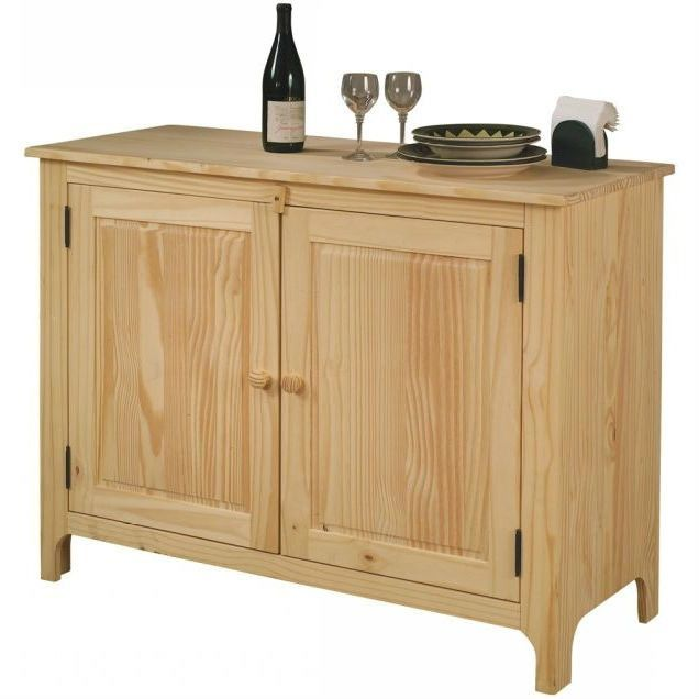 Unfinished Solid Pine Wood Sideboad Storage Cabinet