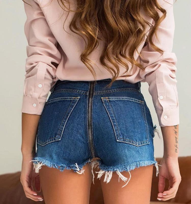 Women Shorts High Waist Denim Tassel Jeans Back Zipper Solid Polyester Cotton