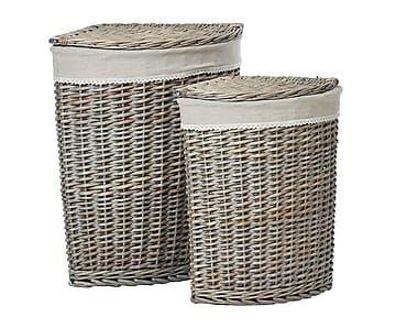 Set de 2 cestos de lavandería en lino y madera de sauce - natural