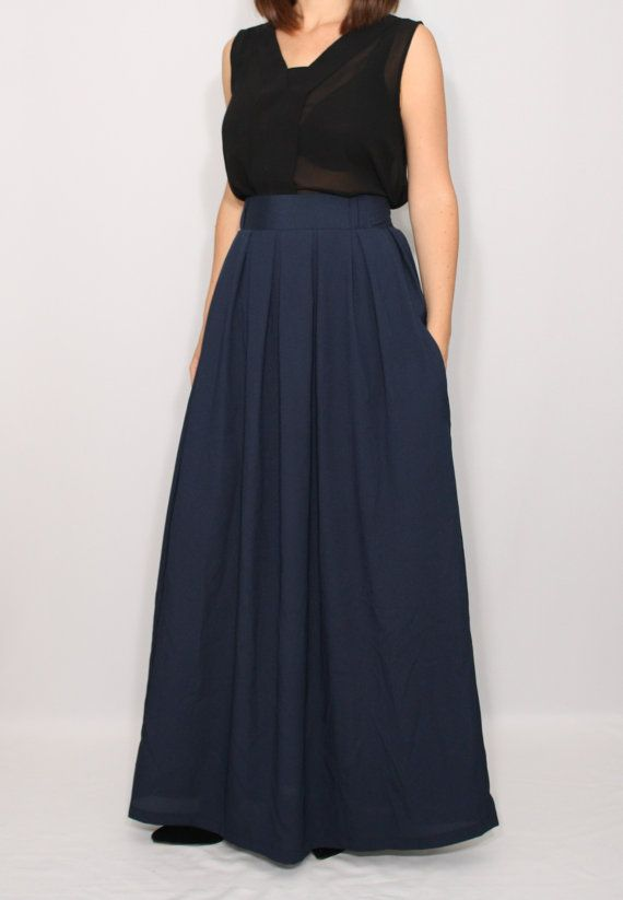 20b8b45f12fe Blue chiffon maxi skirt / Navy chiffon long skirt / Blue maxi skirt with  pockets/ Plus size maxi skirt This skirt designed with pleated front,  elastic band ...
