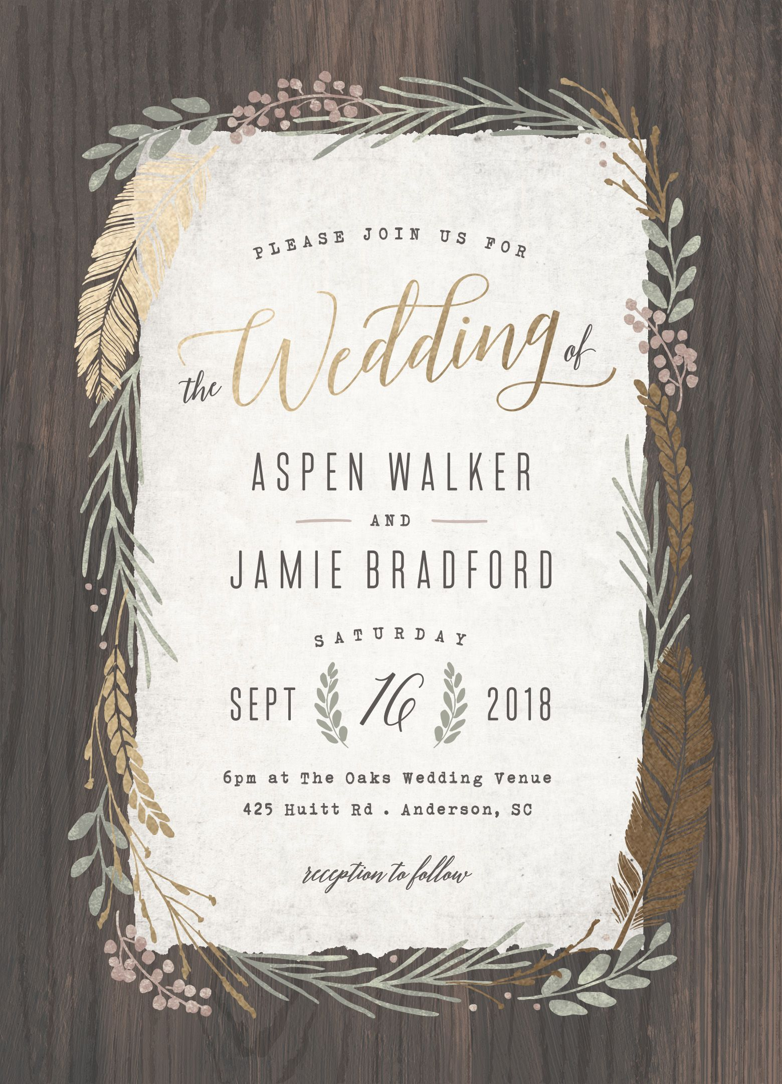 Woodland Wreath Customizable Foil Pressed Wedding Invitations In