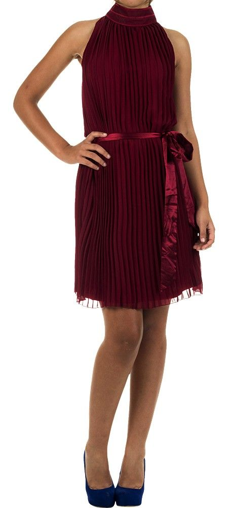 Red Pleated Chiffon Dress - G-COUTURE APPAREL