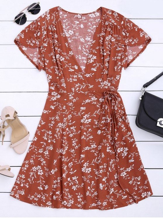 Floral Print Self Tie Wrap Dress V 2019 G Buy Dresses Wrap
