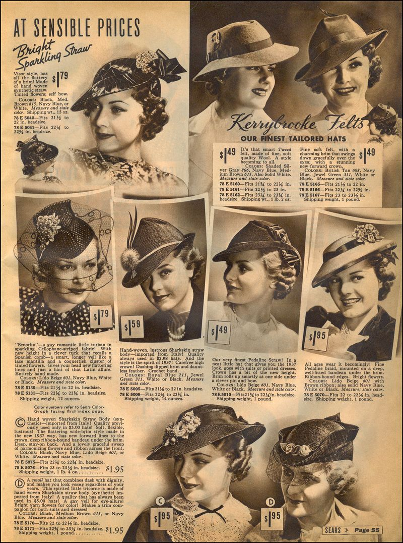 1930s vintage style fashion hats photo print ad models magazine catalogue 90916082e84