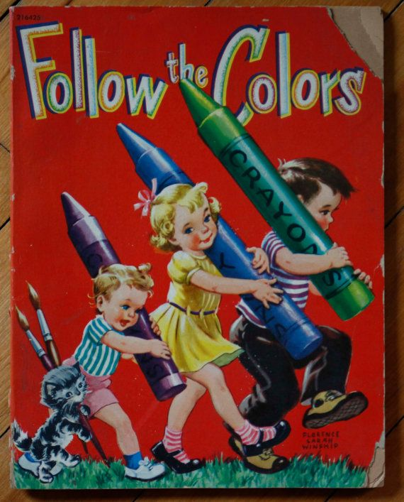 1952 Follow the Colors Vintage Whitman Coloring Book ...