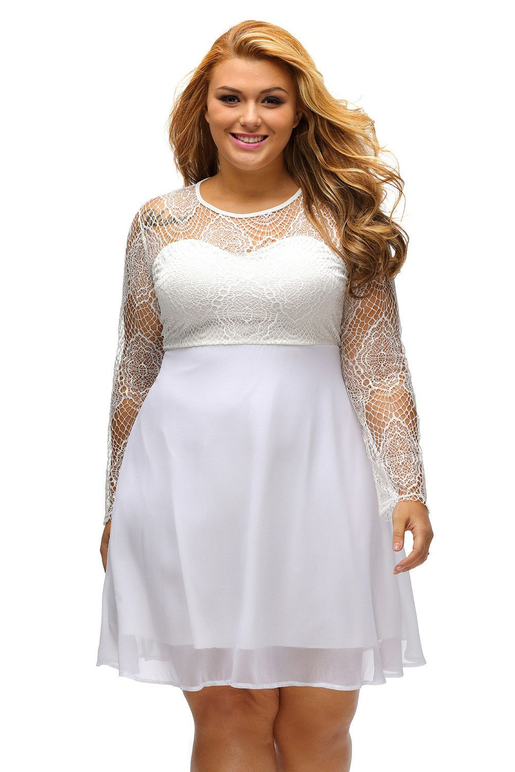 Prix  €16.86 Robes Blanches de Soiree Grandes Tailles Dentelle Manches  Longues Pas Cher www.modebuy.com  Modebuy  Modebuy  Rouge  me  sexy  robes 336c5e0456d