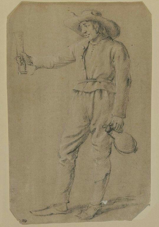 ANONYME FLAMAND XVIIIè s Ecole flamande Paysan debout, tendant un verre et tenant une cruche de vin