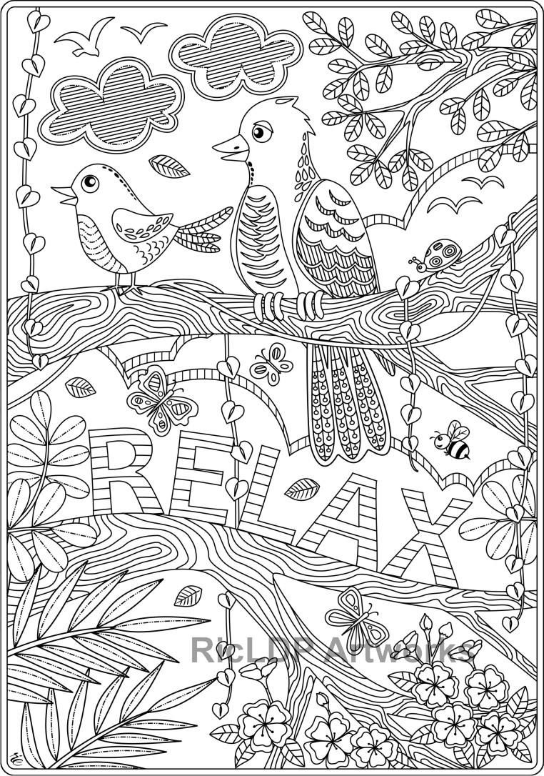 Set of 2 Coloring Pages for Kids and Adults; Relax and ...
